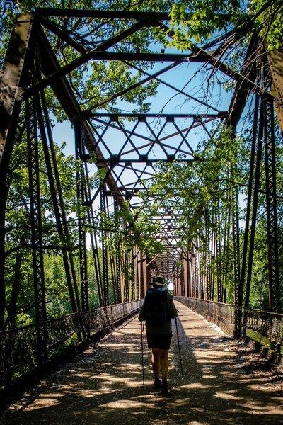 Crossing the Wabash River on the Davis Ferry Bridge