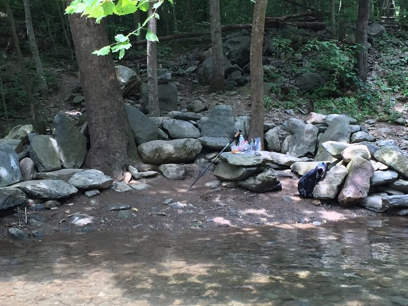 """North Fork Moorman's River Trail, Cool outdoor dinning at its finest. Table and chairs. If you find it don't trash it. Leave it as you found it """"clean""""."""