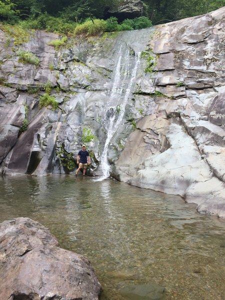 North Fork Moorman's River Trail, at the end of the trail is a small fall.  The real adventure begins at the top.  Continue up past the sign on the left side of the falls, have fun