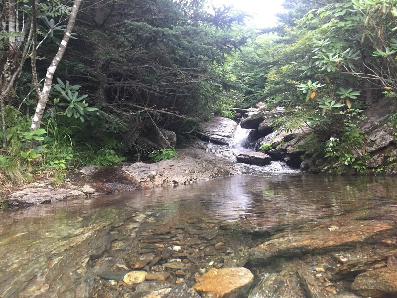 Cascading portion of Lower Creek crossing Commissary Trail