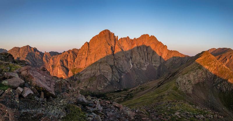 The Crestones in the shadow of Humboldt Peak