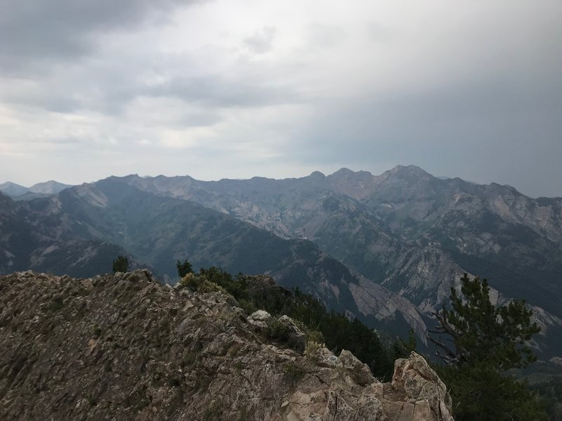 The Cottonwood Ridge with a storm on the horizon from Mount Raymond