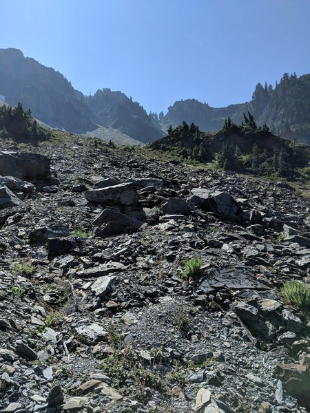 Looking up at Rangers Pass from North