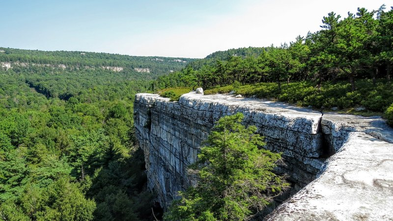 Gertrude's Nose Trail follows atop one of the many ledges on the Shawangunk Ridge of Hudson Valley, New York