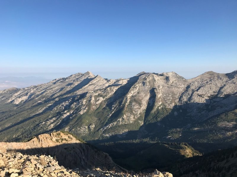 Lone Peak and the surrounding peaks, as seen from the summit of Box Elder