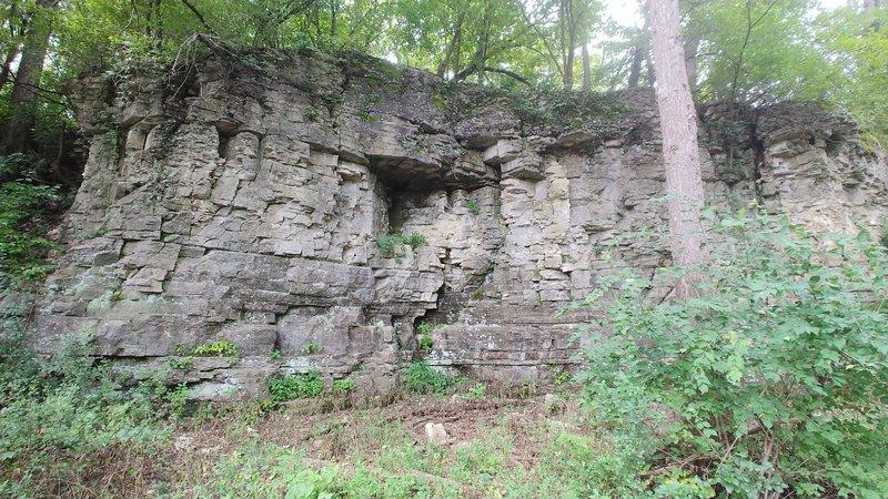 A stone wall along the Winnebago River