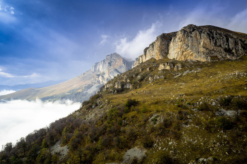 Dramatic limestone cliffs above the village of Hovk at the northeast end of Dilijan National Park.