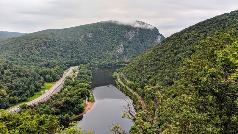 Mt Tammany, home of the most popular NJ hike, sits in the distance on one side of the Delaware Water Gap