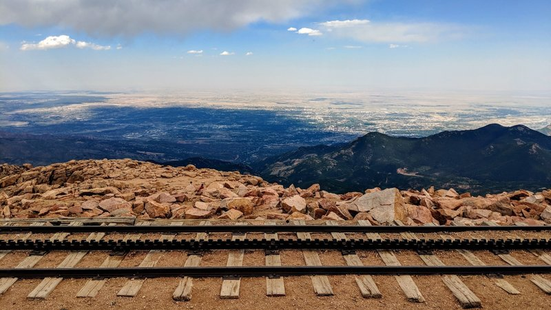 Looking over the now defunct cog rail line at the summit of Pikes Peak, Colorado
