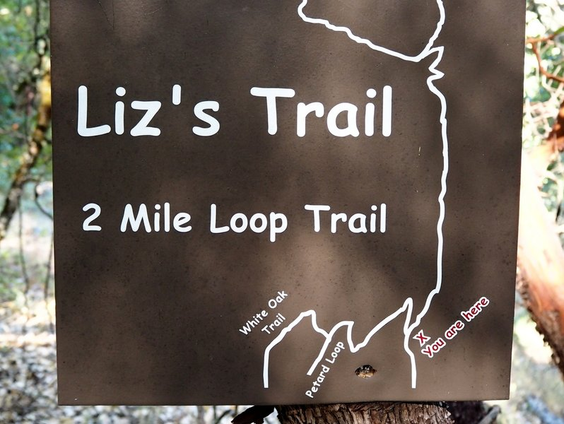 Sign at start of Liz's Trail