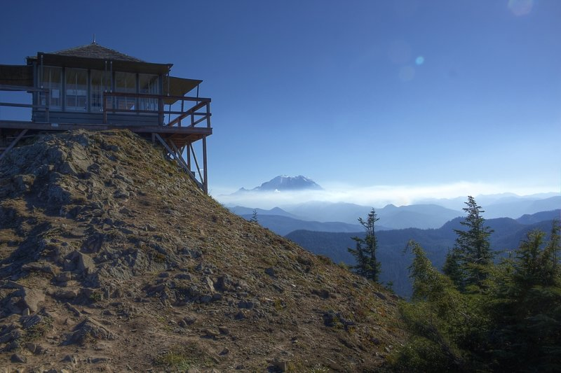 The backside of the lookout, looking south toward Rainier