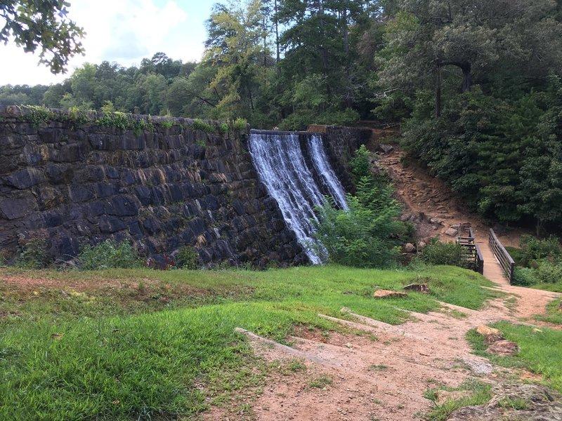 Man-made waterfall on Lake Placid Trail