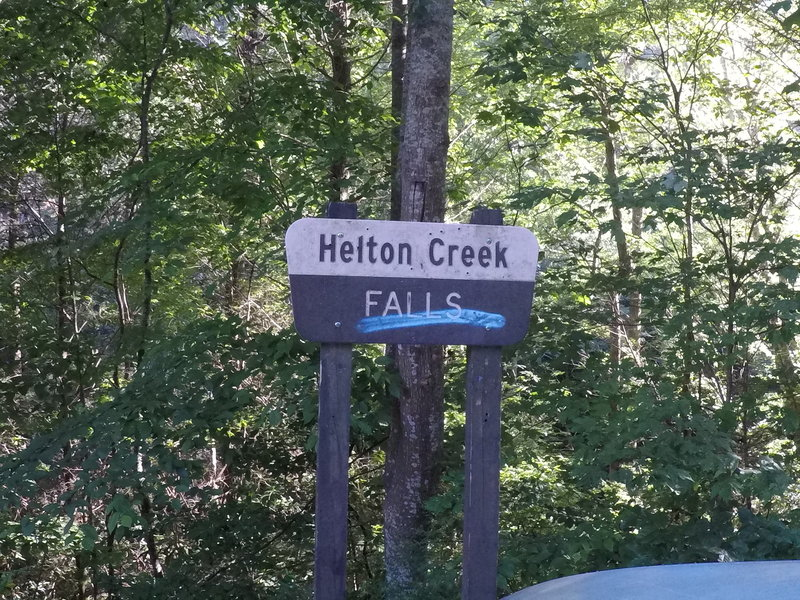 The sign for the falls,