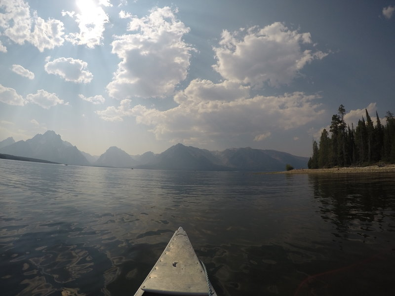 The Grand Tetons as seen from the lake.