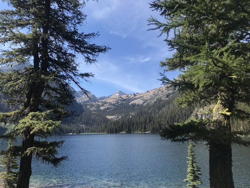 The view from the end of the trail across Glacier Lake