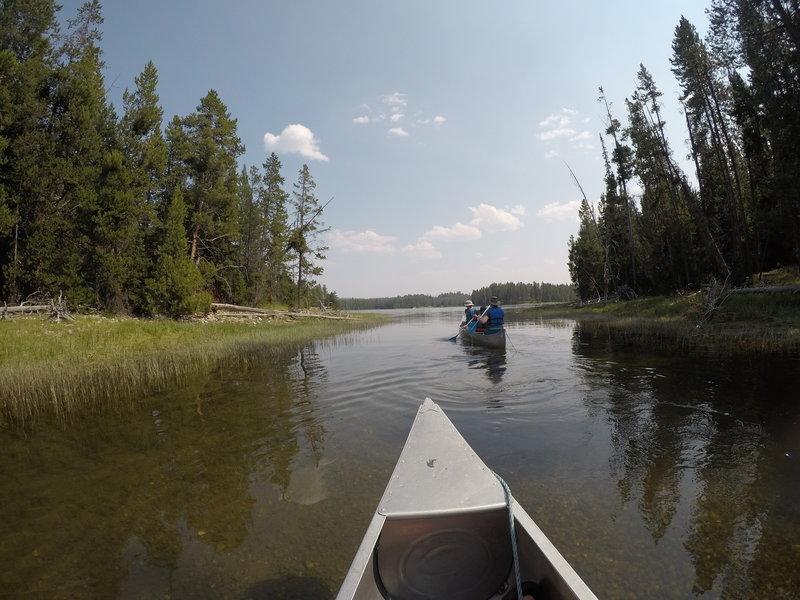 Canoeing into Half Moon Bay.