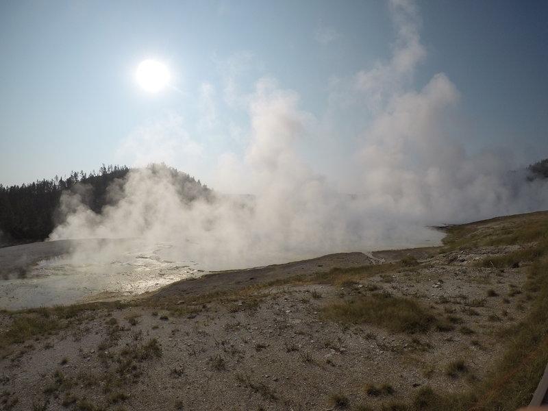 Steam raising off of Excelsior Geyser Crater.