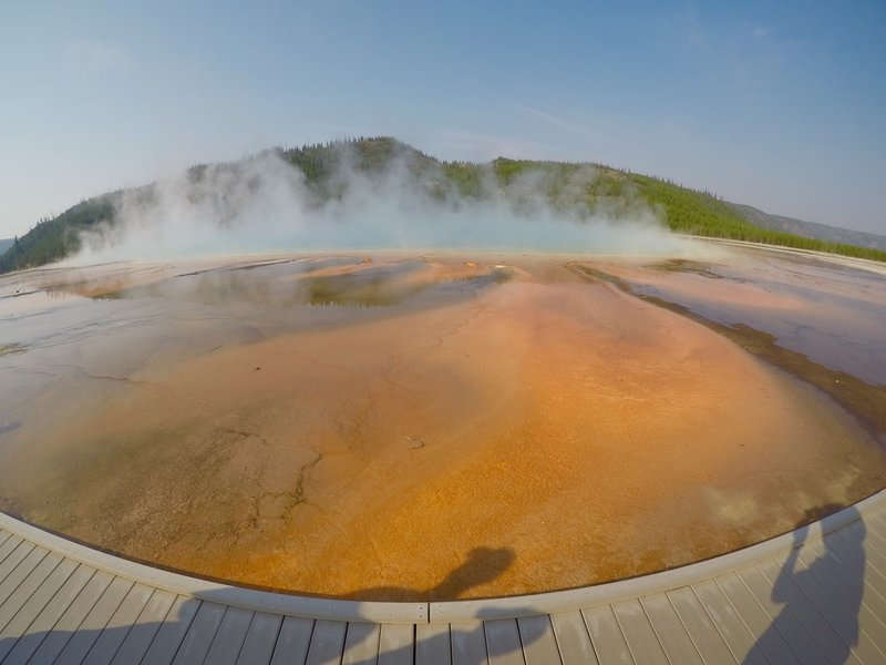 Turquoise steam rising off of the Grand Prismatic.