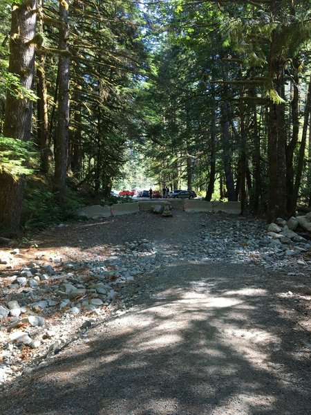 Looking back to the parking lot from the start of the road leading to the start of the Snoqualmie Lake Trail.