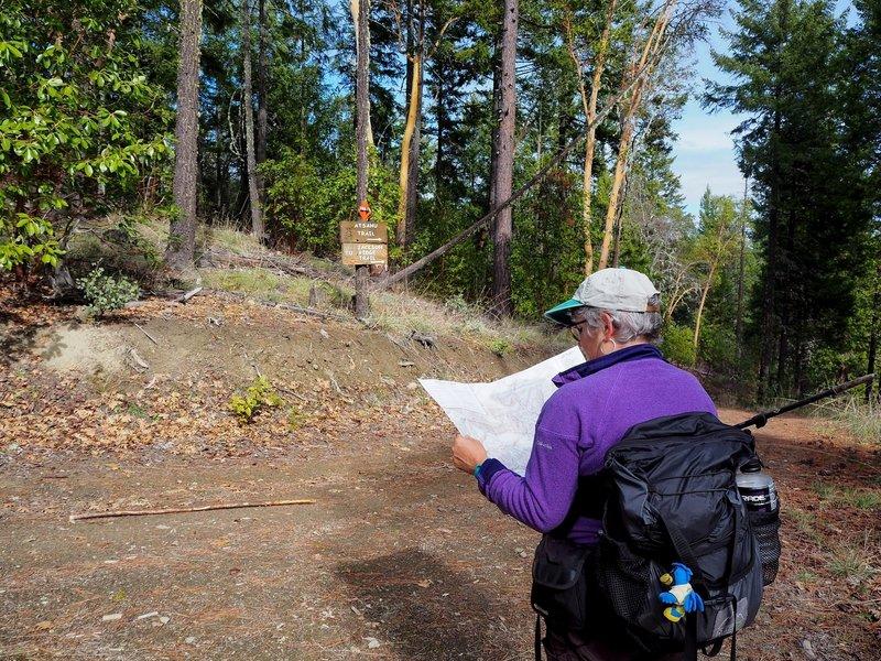 Considering our options near the Atsahu / Jackson Ridge Trail junction