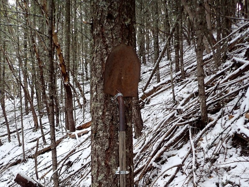 An old miner's shovel along the Owl Hoot Trail