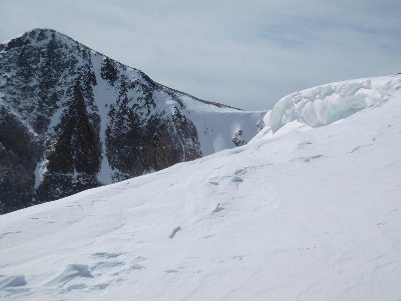 Near Flattop Mountain summit with Hallett Peak on the left