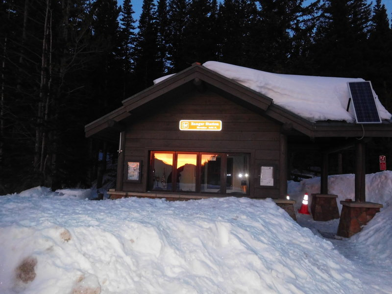 Sunrise reflected from the Bear Lake Ranger Station, the start to many great adventures