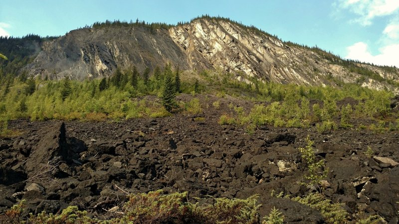 The trail runs through the bottom of an impressive rockslide that came down Doubt Hill.