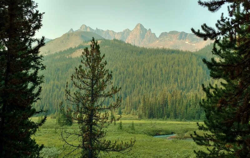 Turquoise Poboktan Creek flows through a lush meadow below Waterfall Peaks on a sunny August morning on the Poboktan Pass Trail.