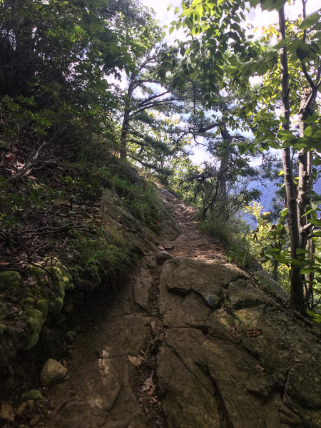 The trail is steep, rocky and tricky.