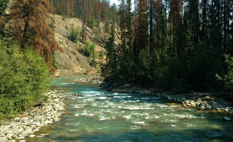 The beautiful turquoise Miette River is crossed by the Dorothy, Christine and Virl Lakes Trail on a sturdy bridge.