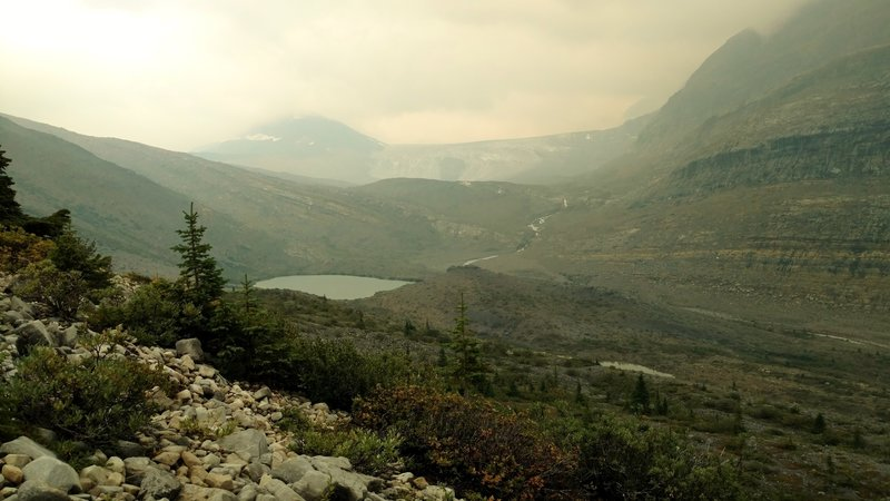 Coleman Gacier is seen in the distance from the morraine at the end of Coleman Glacier Trail on a hazy, overcast day. Yates Torrent is the glacial creek carrying melt water to the little lake and then down into Smoky River.