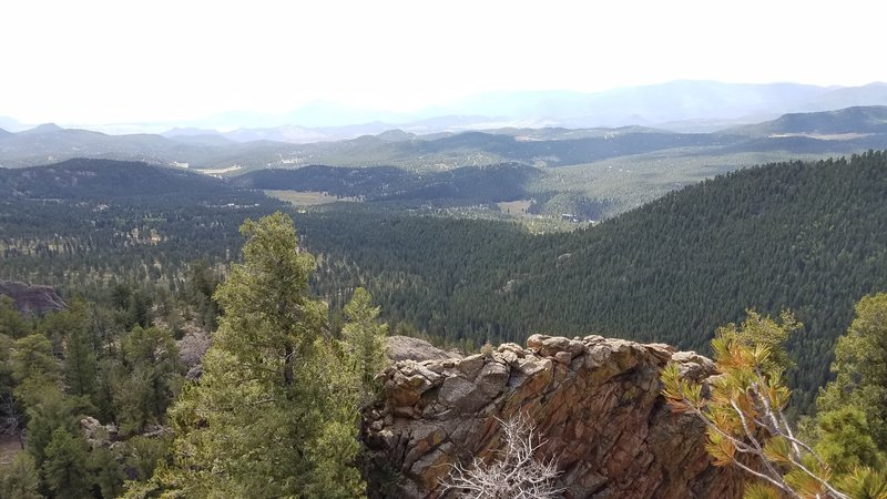 The beautiful view from the Staunton Rocks Overlook, before you begin descending the Border Line Trail