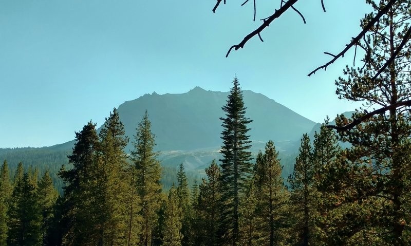 Lassen Peak. Looking closely, the slopes are completely cleared of trees. These slopes were swept away in the May 1915 eruptions.
