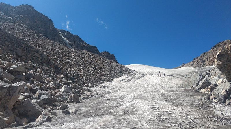 Hikers ascending Andrews glacier in Sept 2018