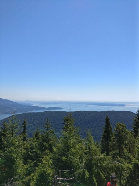 View looking toward Vancouver and Horseshoe Bay from the radio tower viewpoint. The true summit lies south and has no real view.