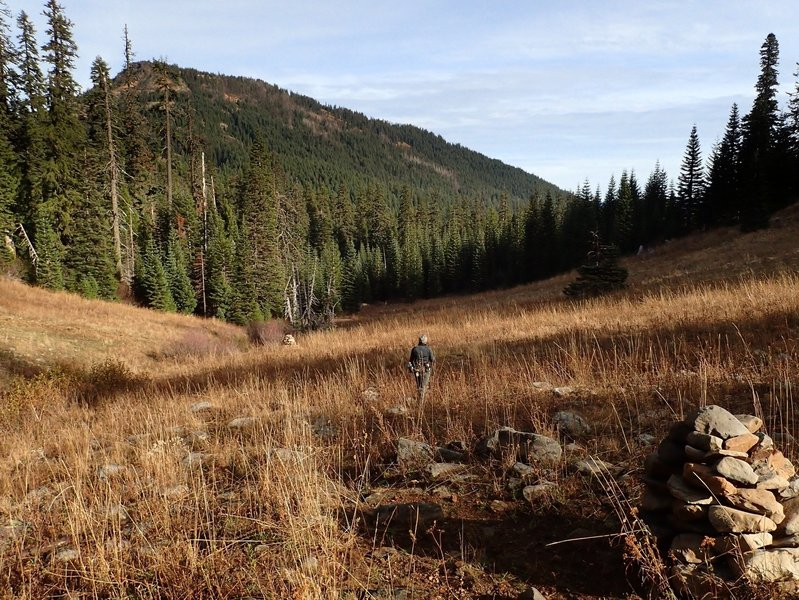 In the Fish Creek Valley, the Divide Trail is marked with cairns