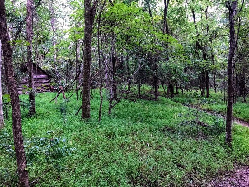 Log cabin farmhouse on the trail