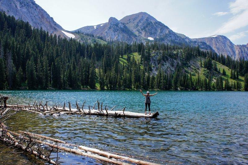 Balancing on driftwood of Fairy Lake