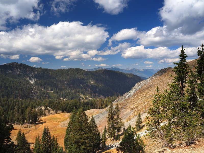 View from the Telephone Lake Trail where it reaches the crest