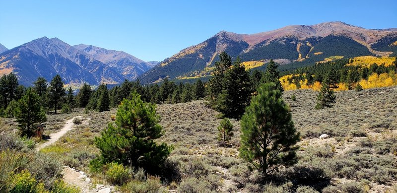View of Mt Elbert (right), highest point in the Rockies