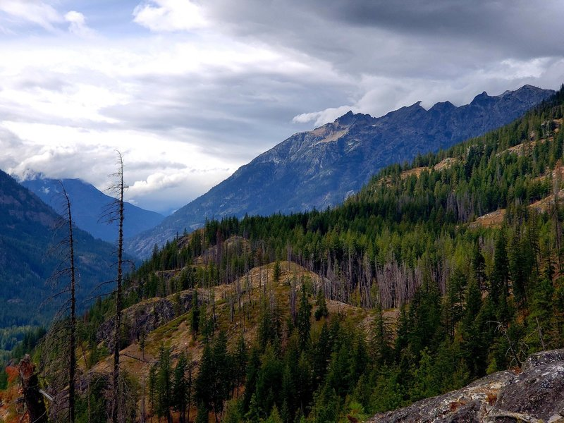 Looking up the Stehekin valley towards McGregor mountain from the Rainbow Loop Trail.