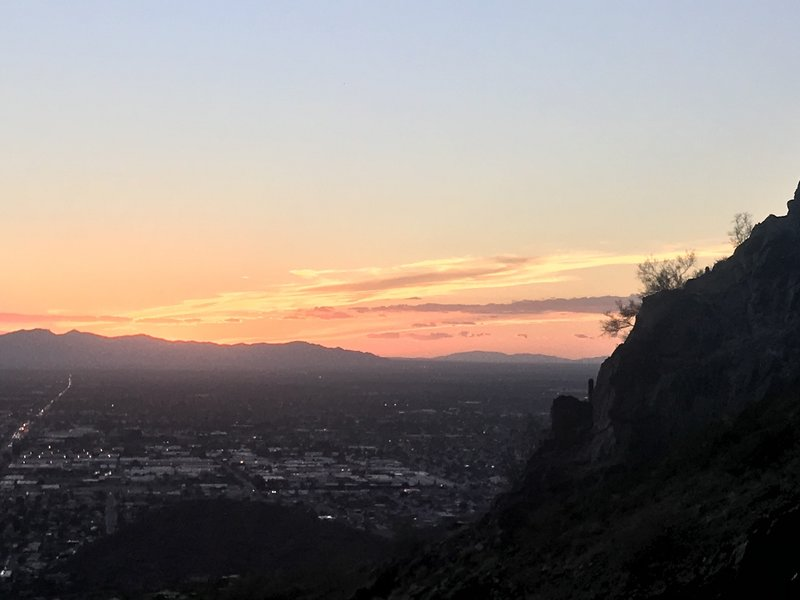 Looking west during sunset.