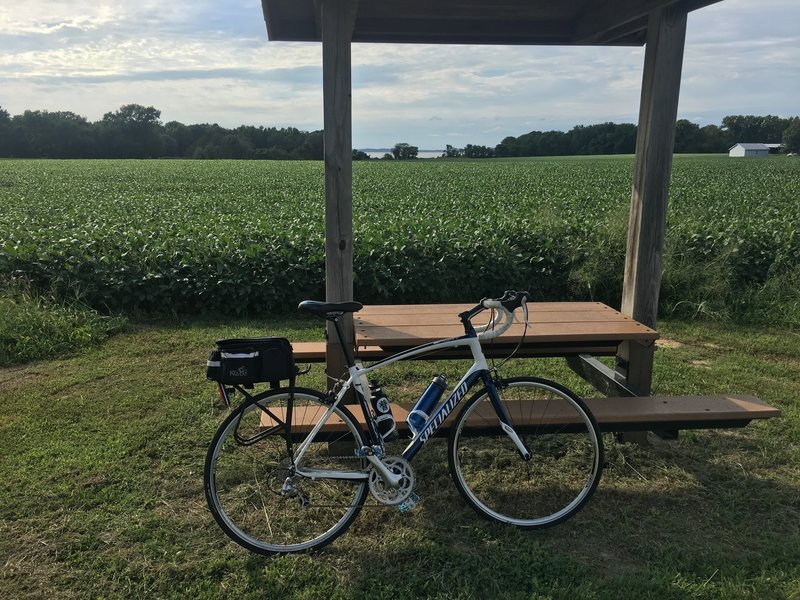 There are picnic tables and benches throughout the trail.