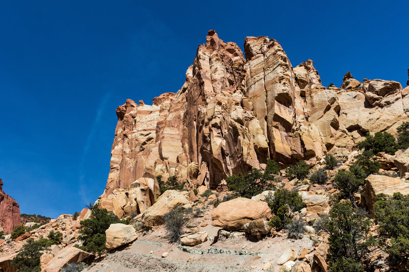 Rocks towering above the Red Canyon creek bed