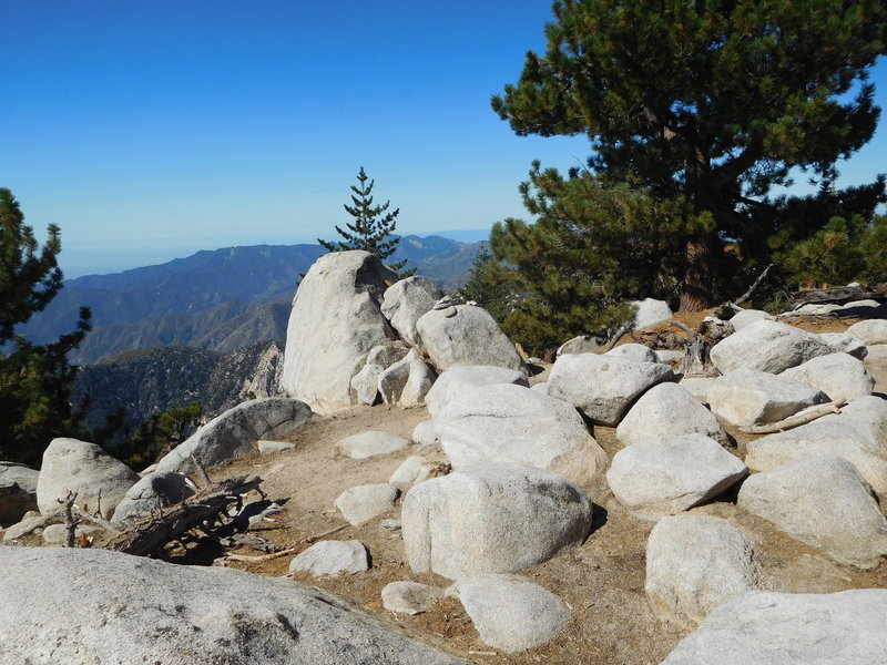Summit of East Twin Peaks looking southwest towards Mt. Wilson.