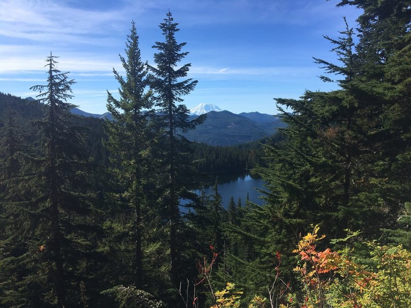 Looking down on Ollalie Lake with Mt. Rainier off in the distance. ~4 miles in on Pratt Lake Trail (from parking lot)