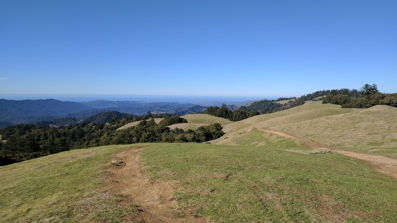 Beautiful rolling hills surround the trail.