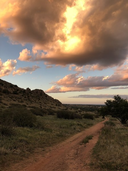 Sunset heading back north on the Hogback Valley Trail