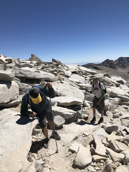 9/11/2018 Almost there!  The altitude was a problem for Victor from Hawaii.  Mt. Whitney Trail near the summit.